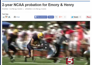 2015-04-10 Emory Henry NCAA probation