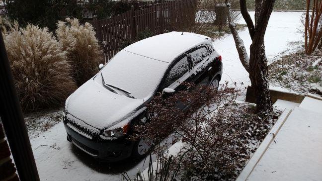 tight car little snow