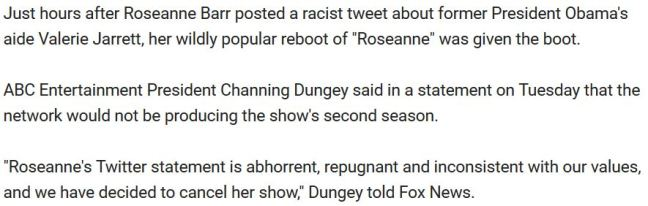 3 paragraphs Fox News Roseanne