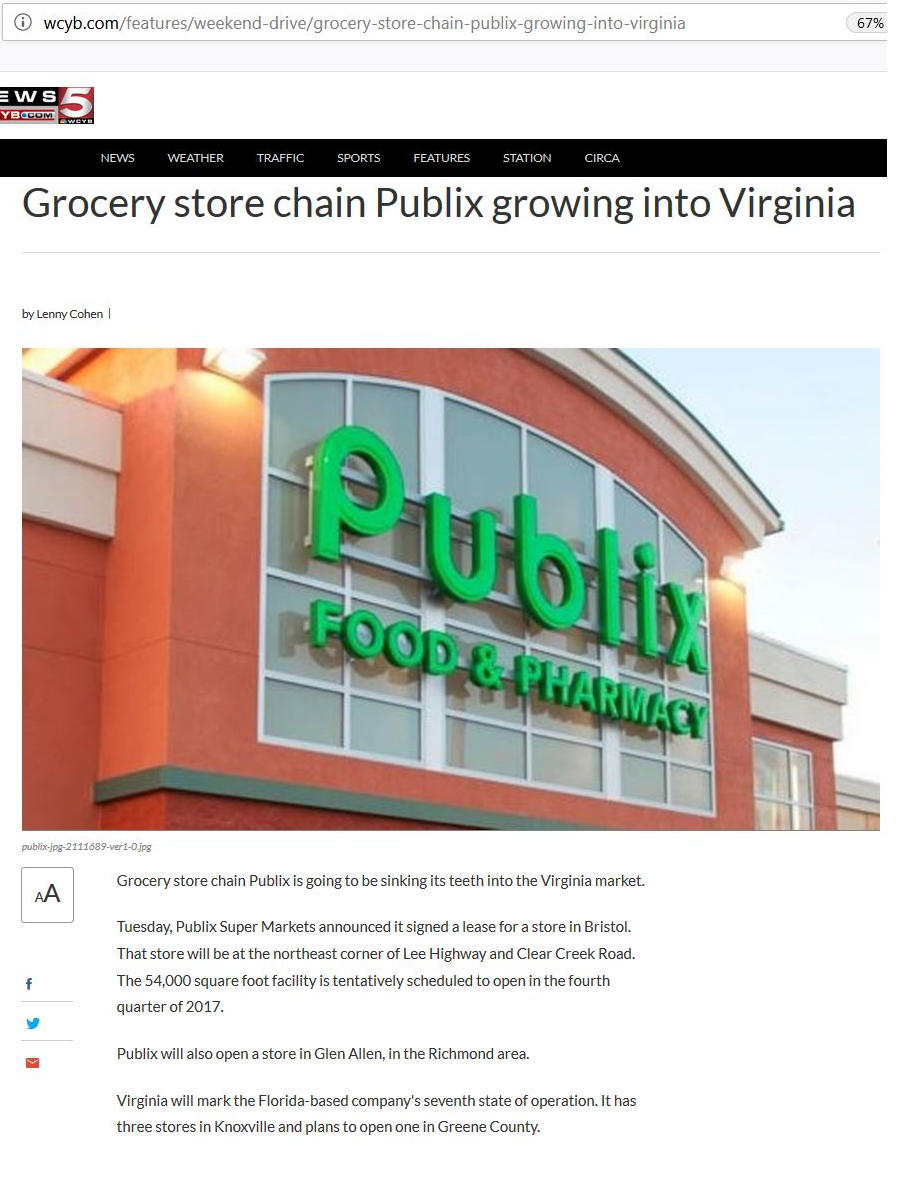 Grocery store chain Publix growing into Virginia