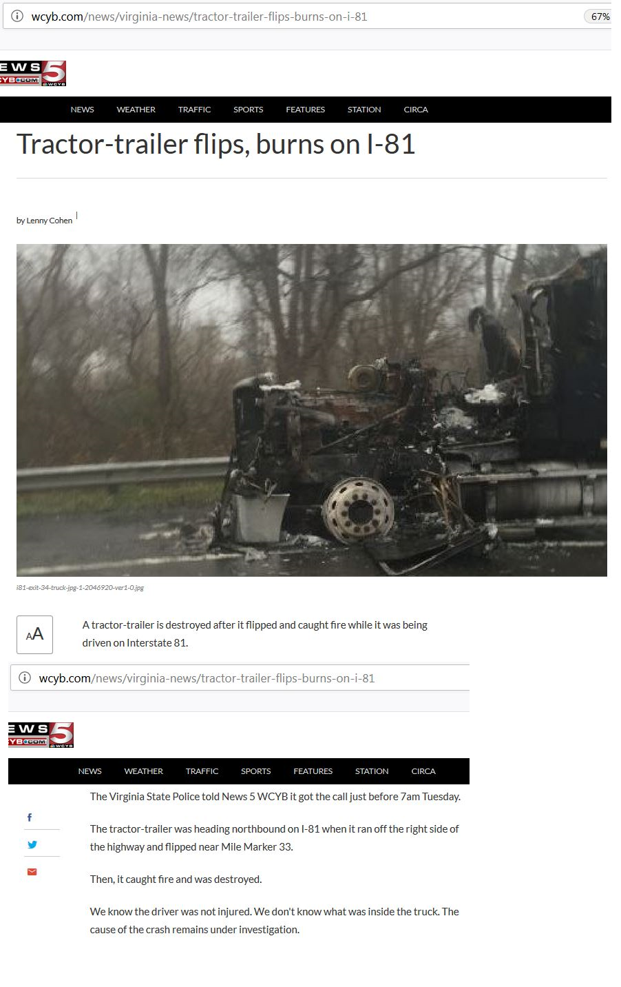Tractor-trailer flips burns on I-81
